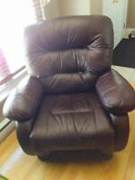 Leather rock and swivel recliners for sale - like new