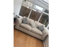 Cream fabric 3 seater sofa