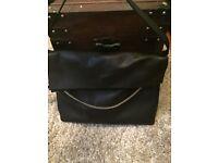 All saints black leather handbag