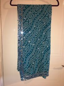 Blue sequin saree -one size
