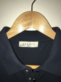 Sandro Navy Blue Polo with Snap Fastenings Size M
