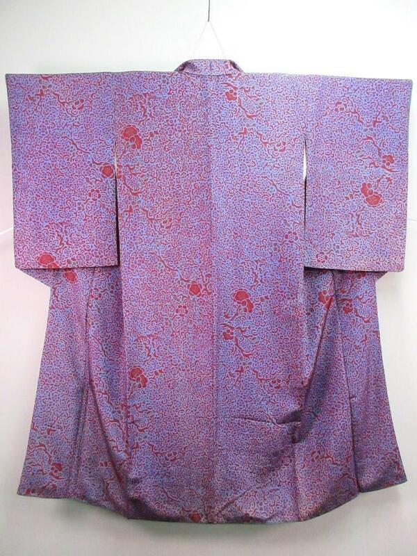 B2-4678a690 Silk Vintage Japanese kimono Robe Dress Plum blossom