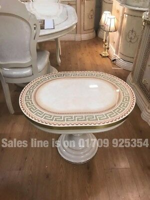VERSACE DESIGN GREEK KEY ITALIAN LAMP TABLE IN CREAM & GOLD