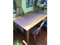 Large heavy oak dining table and chairs