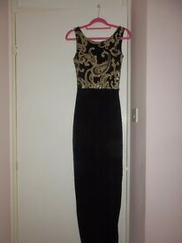 midi length dress from boohoo gold/black size 8/10
