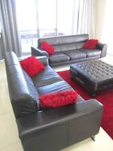 SOFAS x 2, RRP$4,000, genuine black leather, 3 seater + 2 seater East Victoria Park Victoria Park Area Preview