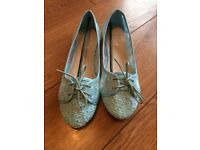 Teal lace/sequin flat pumps. Size 5. Brand new in box.