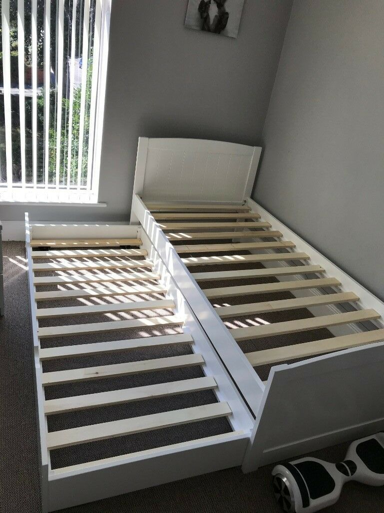 Portland White Bed Frame With Liv And Lou Guest Underbed In