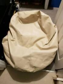 Cream leather bean chair