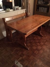 Lovely 1970s pine dining table and matching bench