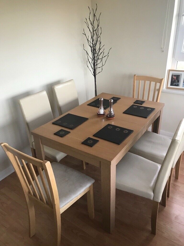 Homebase Extending Oak Dining Table 12m With 6 Chairs In Romford London Gumtree