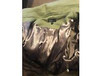 Topshop green coat women's size 8 fur hood