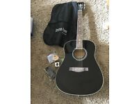 Brand new never used Stretton Payne steel string left handed guitar + accessories