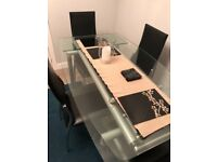 Lovely Glass Dining Table with x4 Chairs