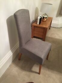 Next high backed silver fabric dining chairs x6