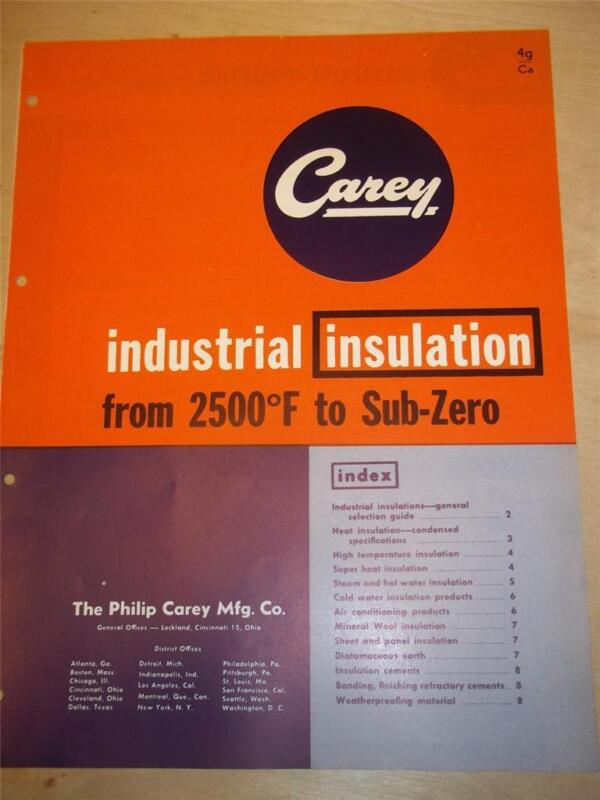 Philip Carey Mfg Co Catalog~Asbestos~Industrial Insulation/Careycel~1953