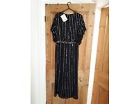 Brand new miss selfridge black beaded jumpsuit size 8