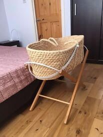 Mothercare Moses basket with folding stand, mattresses and linens