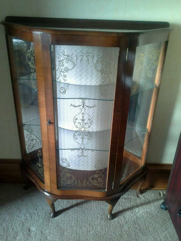 Vintage display cabinet, wooden frame with glass panels
