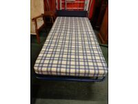 Single Fold Up Bed & Mattress with Blue Headboard