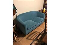 2 seater teal sofa