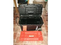 black and decker large tool box on wheels with retractable pull handle