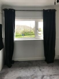 Blackout curtains with curtain pole