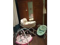 Mamas and Papas Moses basket+bright starts bouncer/Mothercare playmat
