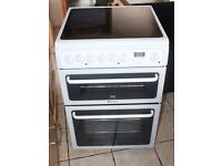 6 MONTHS WARRANTY White Hotpoint 60cm, double oven electric cooker FREE DELIVERY