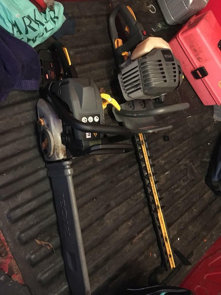Ryobi petrol chainsaw and hedge trimmer
