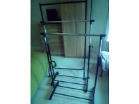 3 portable clothes racks on small wheels . Can be broken down for storage. £5 for quick uplift