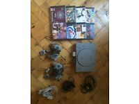 Playstation 1 console, games, cards, bundle