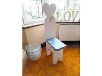 Solid Wood Childrens White Chair Throne Wooden Princess Fairytale Heart Kids Girls Bedroom Furniture