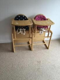 Wooden highchair to table and chair x2