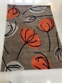 Designer Floral rug neutral , grey and orange Floral design