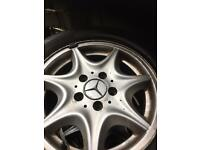 Mercedes set of ally wheels with good legal tiers 195/65-15.