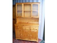 CAN DELIVER - SOLID PINE DRESSER WITH WOODEN BACK IN GOOD CONDITION