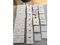 Job lot white MK plug/light/appliance sockets and switches