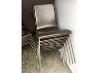 100 Faux leather brown chairs with chrome legs