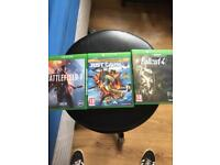 3 Xbox One games Fallout 4 , Battlefield 1 , just cause 3