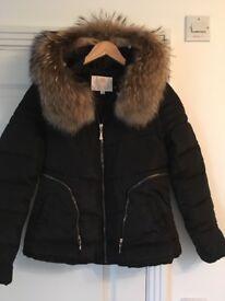 Fox fur detachable hood puffa coat