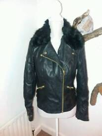 Miss Selfridge faux leather and fur jacket
