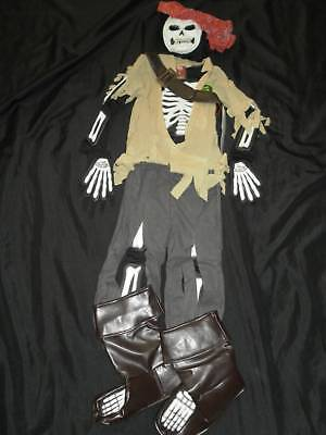 Pirate Skeleton Costume (NEW Disney PIRATES SKELETON Pirate GLOW Costume XS 4)