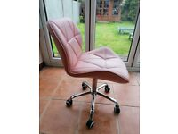 Adjustable Pink Leather Swivel Chair