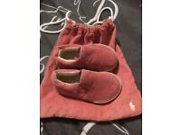 Baby girl size 3.5 Ralph Lauren shoes with bag