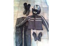 Ladies / womens motorbike jacket and trousers size 12, helmet, gloves, boots size 6