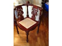 ANTIQUE / REPRODUCTION CORNER CHAIR AS NEW CONDITION WITH CARVED DETAIL BARGAIN £95