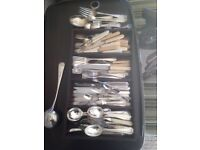 Selection of mostly silver plated cutlery ,