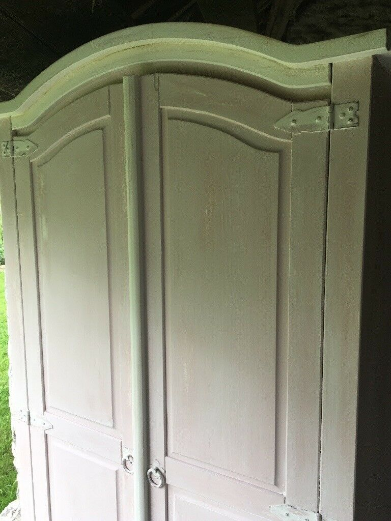 Lovely pine wardrobe hand-painted in Annie Sloan Antionette pink and old white with wax finish