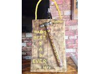 Bespoke Handmade Father's Day Gift - Thanks Best Dad Ever - Hammer - Key Holder